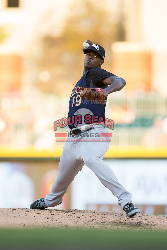 Scranton/Wilkes-Barre RailRiders starting pitcher Luis Severino (19) in action against the Charlotte Knights at BB&T BallPark on July 20, 2016 in Charlotte, North Carolina.  The RailRiders defeated the Knights 14-2.  (Brian Westerholt/Four Seam Images)