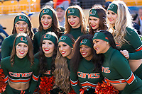 A group photo taken before the game of the Miami Hurricane cheerleaders. The Pitt Panthers upset the undefeated Miami Hurricanes 24-14 on November 24, 2017 at Heinz Field, Pittsburgh, Pennsylvania.