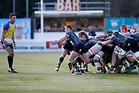 Nottingham Rugby FC pass the ball out during the Championship Cup Quarter Final match between Ealing Trailfinders and Nottingham Rugby at Castle Bar , West Ealing , England  on 2 February 2019. Photo by Carlton Myrie / PRiME Media Images.