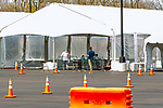 APRIL 07, 2020: National Guardsman run the COVID 19 testing area at Aqueduct Racecourse in Ozone Park, NY.  Sue Kawczynski/Eclipse Sportswire/CSM