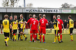 Players bump fists at full time. Hucknall Town v Heanor Town, 17th October 2020, at the Watnall Road Ground, East Midlands Counties League. Photo by Paul Thompson.