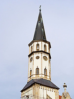 Turm gotische Kirche St. Jakob-Bazilika sv. Jakuba  in Levoca - Leutschau, Presovsky kraj, Slowakei, Europa<br /> Gothic church St. Jacob- sv.Jakuba in Levoca, Presovsky kraj, Slovakia, Europe