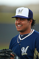 Milwaukee Brewers Angel Ventura (38) before an instructional league game against the San Diego Padres on October 6, 2015 at the Peoria Sports Complex in Peoria, Arizona.  (Mike Janes/Four Seam Images)