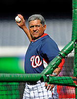 29 March 2008: Washington Nationals first base coach Jerry Morales throws batting practice prior to an exhibition game against the Baltimore Orioles at Nationals Park, in Washington, DC. The matchup was the first professional game played in the new ballpark, prior to the upcoming official opening day inaugural game. The Nationals defeated the Orioles 3-0...Mandatory Photo Credit: Ed Wolfstein Photo