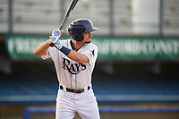 Princeton Rays third baseman Connor Hollis (39) at bat during the first game of a doubleheader against the Johnson City Cardinals on August 17, 2018 at Hunnicutt Field in Princeton, Virginia.  Johnson City defeated Princeton 6-4.  (Mike Janes/Four Seam Images)