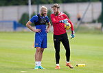 St Johnstone Training...  McDiarmid Park<br />Goalkeeper Zander Clark pictured with Shaun Rooney during training ahead of Saturday's opening league game of the season at Ross County.<br />Picture by Graeme Hart.<br />Copyright Perthshire Picture Agency<br />Tel: 01738 623350  Mobile: 07990 594431