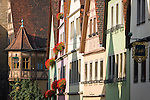 Germany, Bavaria, Middle Franconia, Rothenburg ob der Tauber: townhouses at lane Galgengasse | Deutschland, Bayern, Mittelfranken, Rothenburg ob der Tauber:  Buergerhaeuser in der Galgengasse