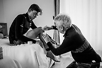 Mads Pedersen (DEN/Trek-Segafredo) treated for road-rash by team doctor Daniele 'Nino' Gaetano at the team hotel<br /> <br /> stage 16: Trento – Rovereto iTT (34.2 km)<br /> 101th Giro d'Italia 2018