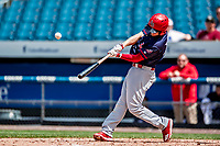 22 July 2018: Louisville Bats infielder Josh VanMeter hits a two-run home run in the 5th inning against the Syracuse SkyChiefs at NBT Bank Stadium in Syracuse, NY. The Bats defeated the Chiefs 3-1 in AAA International League play. Mandatory Credit: Ed Wolfstein Photo *** RAW (NEF) Image File Available ***