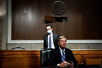 United States Senator Lindsey Graham (Republican of South  Carolina), Chairman, US Senate Judiciary Committee arrives for a US Senate Judiciary Committee business meeting to consider authorization for subpoenas relating to the Crossfire Hurricane investigation and other matters on Capitol Hill in Washington, DC on June 11, 2020. <br /> Credit: Erin Schaff / Pool via CNP/AdMedia