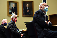 From left to right, ADM Brett P. Giroir, Assistant Secretary for Health U.S. Department of Health and Human Services; Dr. Anthony Fauci, Director, National Institute for Allergy and Infectious Diseases, National Institutes of Health; and Dr. Robert Redfield, Director, Centers for Disease Control and Prevention; testify during a House Energy and Commerce Committee hearing on the Trump Administration's Response to the COVID-19 Pandemic, on Capitol Hill in Washington, DC on Tuesday, June 23, 2020. <br /> Credit: Kevin Dietsch / Pool via CNP/AdMedia
