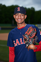 Salem Red Sox pitcher Roniel Raudes (10) poses for a photo before the first game of a doubleheader against the Potomac Nationals on May 13, 2017 at G. Richard Pfitzner Stadium in Woodbridge, Virginia.  Potomac defeated Salem 6-0.  (Mike Janes/Four Seam Images)
