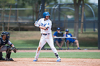 AZL Dodgers right fielder Jon Littell (27) at bat in front of catcher Luis Roman (4) during an Arizona League game against the AZL Padres 2 at Camelback Ranch on July 4, 2018 in Glendale, Arizona. The AZL Dodgers defeated the AZL Padres 2 9-8. (Zachary Lucy/Four Seam Images)
