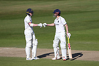 Rob Yates (L) and Sam Hain enjoy a useful partnership for Warwickshire during Warwickshire CCC vs Essex CCC, LV Insurance County Championship Group 1 Cricket at Edgbaston Stadium on 25th April 2021