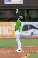 Kane County Cougars second baseman Eddie Hernandez (14) celebrates after hitting a double during a Midwest League game against the Cedar Rapids Kernels at Northwestern Medicine Field on April 28, 2019 in Geneva, Illinois. Cedar Rapids defeated Kane County 3-2 in game two of a doubleheader. (Zachary Lucy/Four Seam Images)