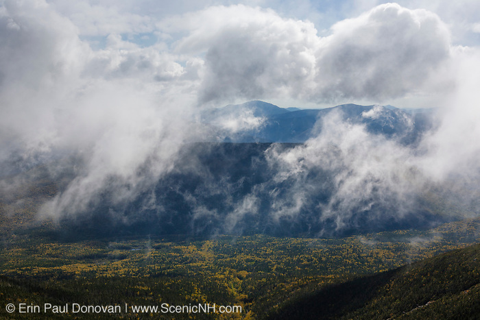 Owl's Head in the Pemigewasset Wilderness engulfed in fog and clouds from the Appalachian Trail (Franconia Ridge Trail), near Mount Lincoln, in the New Hampshire White Mountains during the last days of summer.