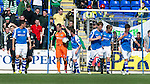 St Johnstone v Celtic....15.09.12      SPL  .Alan Mannus gets a pat on the head from Paddy Cregg after his crucial save denied Gary Hooper..Picture by Graeme Hart..Copyright Perthshire Picture Agency.Tel: 01738 623350  Mobile: 07990 594431