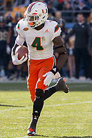 Miami Hurricanes wide receiver and kickoff returner Jeff Thomas. The Pitt Panthers upset the undefeated Miami Hurricanes 24-14 on November 24, 2017 at Heinz Field, Pittsburgh, Pennsylvania.