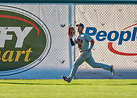 16 July 2017: Auburn Doubledays outfielder Oliver Ortiz pulls in a fly ball for the first out in the 5th inning against the Vermont Lake Monsters at Centennial Field in Burlington, Vermont. The Monsters defeated the Doubledays 6-3 in NY Penn League action. Mandatory Credit: Ed Wolfstein Photo *** RAW (NEF) Image File Available ***
