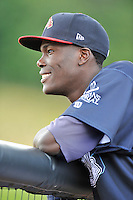 Starting pitcher Luis Mora (45) of the Danville Braves prior to in a game against the Johnson City Cardinals on Friday, July 1, 2016, at Legion Field at Dan Daniel Memorial Park in Danville, Virginia. Johnson City won, 1-0. (Tom Priddy/Four Seam Images)