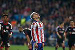 Atletico de Madrid´s Griezmann reacts during the UEFA Champions League round of 16 second leg match between Atletico de Madrid and Bayer 04 Leverkusen at Vicente Calderon stadium in Madrid, Spain. March 17, 2015. (ALTERPHOTOS/Victor Blanco)
