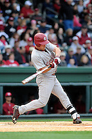 Infielder Joey Pankake (9) of the South Carolina Gamecocks bats in a game against the Furman Paladins on Wednesday, April 3, 2013, at Fluor Field at the West End in Greenville, South Carolina. (Tom Priddy/Four Seam Images)