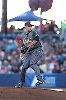 Ryan McCormick (26) of the Boise Hawks pitches during a game against the Hillsboro Hops at Ron Tonkin Field on August 21, 2015 in Hillsboro, Oregon. Boise defeated Hillsboro, 7-1. (Larry Goren/Four Seam Images)