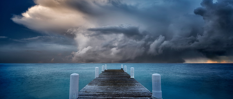 Sunset and pier. Turks and Caicos. Provdenciales