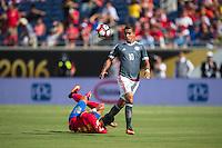 Orlando, Florida - Saturday, June 04, 2016: Paraguayan midfielder Derlis Gonzalez (10) knocks Costa Rican defender Ronald Matarrita (22) off the ball during a Group A Copa America Centenario match between Costa Rica and Paraguay at Camping World Stadium.