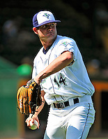 15 July 2010: Vermont Lake Monsters' outfielder Connor Rowe warms up prior to a game against the Aberdeen IronBirds at Centennial Field in Burlington, Vermont. The Lake Monsters rallied in the bottom of the 9th inning to defeat the IronBirds 7-6 notching their league leading 20th win of the 2010 NY Penn League season. Mandatory Credit: Ed Wolfstein Photo