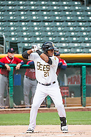 Alfredo Marte (21) of the Salt Lake Bees at bat against the Tacoma Rainiers in Pacific Coast League action at Smith's Ballpark on May 7, 2015 in Salt Lake City, Utah. This game was concluded on May 6, 2015 due to a rain delay.(Stephen Smith/Four Seam Images)