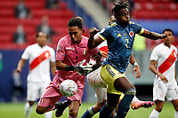 9th July 2021, Brasilia, Federal District, Brazil:  Colombia verus Peru match for third place Copa America in Brazil 2021 held at Estadio Nacional Man Garricha.  Goalkeeper Gallese of zperu cannot control the loose ball in his box