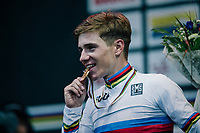 Remco Evenepoel (BEL) is the new World Champion<br /> <br /> MEN JUNIOR ROAD RACE<br /> Kufstein to Innsbruck: 132.4 km<br /> <br /> UCI 2018 Road World Championships<br /> Innsbruck - Tirol / Austria
