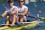 Rowing, Great Britain Men's lightweight pair, Chris Boddy, bow, Adam Freeman-Pask, stroke, repechage race, November 2, 2010 FISA World Rowing Championships, Lake Karapiro, Hamilton, New Zealand,