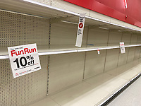 FORT LAUDERDALE, FL - MARCH 13: Supplies have been flying off store shelves in South Florida as people stock up on necessities amid the coronavirus pandemic on March 13, 2020 in Fort Lauderdale, Florida.<br /> <br /> <br /> People:  Atmosphere