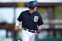 Detroit Tigers first baseman Dominic Ficociello (72) running the bases during an exhibition game against the Florida Southern Moccasins on February 29, 2016 at Joker Marchant Stadium in Lakeland, Florida.  Detroit defeated Florida Southern 7-2.  (Mike Janes/Four Seam Images)