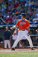 Virginia Cavaliers outfielder Joe McCarthy (31) at bat against the Florida Gators in Game 11 of the NCAA College World Series on June 19, 2015 at TD Ameritrade Park in Omaha, Nebraska. The Gators defeated Virginia 10-5. (Andrew Woolley/Four Seam Images)