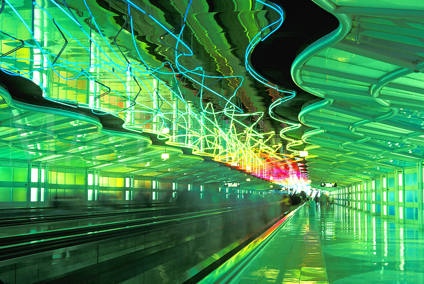 neon lighting in corridor at OHare Airport, Chicago,  Illinois