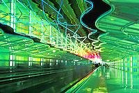 neon lighting in corridor at OHare Airport, Chicago,  Illinois