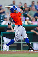 Midland RockHounds third baseman Tyler Ladendorf (23) swings the bat during the Texas League baseball game against the San Antonio Missions on July 13, 2013 at Nelson Wolff Municipal Stadium in San Antonio, Texas. The Missions defeated the Rock Hounds 5-4. (Andrew Woolley/Four Seam Images)