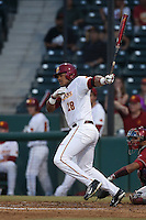 Timmy Robinson (28) of the Southern California Trojans bats during a game against the Washington State Cougars at Dedeaux Field on March 13, 2015 in Los Angeles, California. Southern California defeated Washington State, 10-3. (Larry Goren/Four Seam Images)