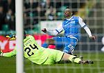 Celtic v St Johnstone…18.02.18…   Celtic Park    SPFL<br />Matty Willock is denies by Dorus De Vries<br />Picture by Graeme Hart. <br />Copyright Perthshire Picture Agency<br />Tel: 01738 623350  Mobile: 07990 594431