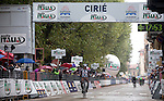 Jan Bakelants (BEL) AG2R La Mondiale wins the 2015 GranPiemonte race, first held in 1906, running 185km race starting at San Francesco al Campo and finishing in Cirie, Italy. 2nd October 2015.<br /> Picture: Claudio Peri/ANSA | Newsfile
