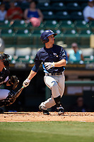 Charlotte Stone Crabs second baseman Brandon Lowe (5) follows through on a swing during a game against the Bradenton Marauders on April 9, 2017 at LECOM Park in Bradenton, Florida.  Bradenton defeated Charlotte 5-0.  (Mike Janes/Four Seam Images)