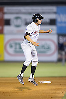 Frank Califano (22) of the Kannapolis Intimidators takes his lead off of second base against the Asheville Tourists at Intimidators Stadium on May 28, 2016 in Kannapolis, North Carolina.  The Intimidators defeated the Tourists 5-4 in 10 innings.  (Brian Westerholt/Four Seam Images)
