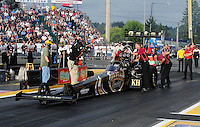 Aug. 5, 2011; Kent, WA, USA; NHRA top fuel dragster driver Del Worsham during qualifying for the Northwest Nationals at Pacific Raceways. Mandatory Credit: Mark J. Rebilas-