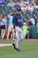 Mississippi Braves manager Luis Salazar (4) before a game against the Tennessee Smokies at Smokies Stadium on April 12, 2017 in Kodak, Tennessee. The Braves defeated the Smokies 6-2. (Tony Farlow/Four Seam Images)