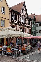 Café in der Brückengasse, Wertheim, Baden-Württemberg, Deutschland