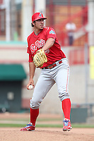 Reading Phillies relief pitcher Phillippe Aumont #45 delivers a pitch during a game against the Erie Seawolves at Jerry Uht Park on May 29, 2011 in Erie, Pennsylvania.  Erie defeated Reading 6-5 in ten innings.  Photo By Mike Janes/Four Seam Images