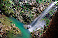 The waterfall at Milopotamos in Kythera, Greece